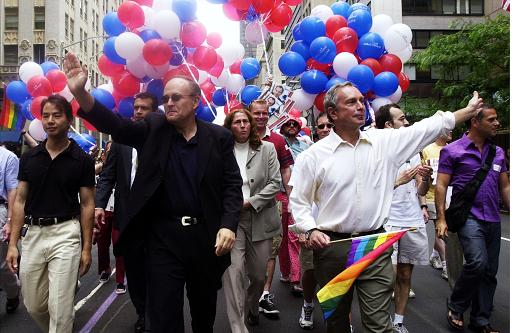 Guiliani marching in gay parade