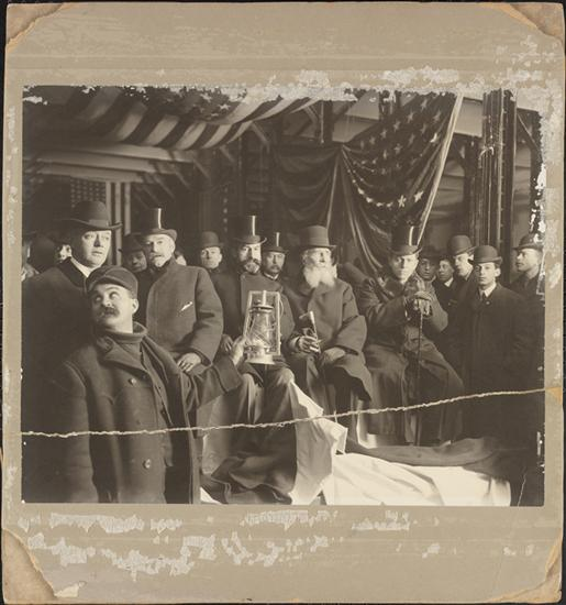 A picture in the new subway tunnels, Mr. McClellan looking very confident near the center right. (Museum of the City of New York)