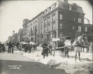 Scenes From A Snowstorm Clearing Streets In Old New York