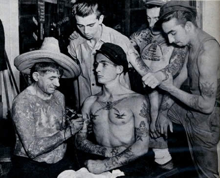 From a bowery tattoo parlor remember pearl harbor for Vintage tattoo art parlor