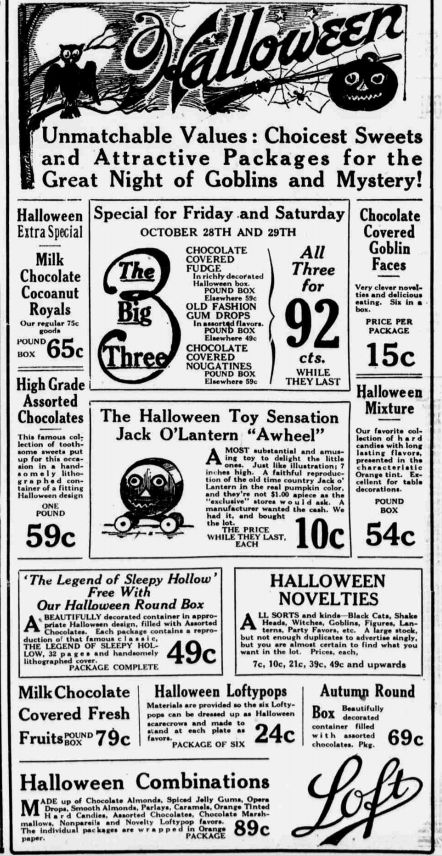 Vintage Halloween Ads.Goblin Faces Nutted Moguls Loftypops Gotham Chocolates Vintage