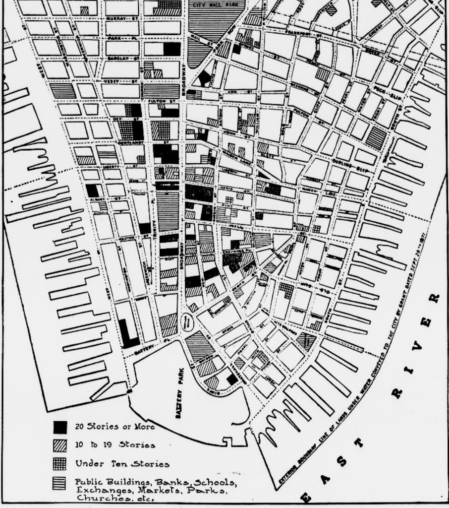 Map Of New York Downtown Manhattan.Before Woolworth The Early Towers Of Lower Broadway At The Birth Of