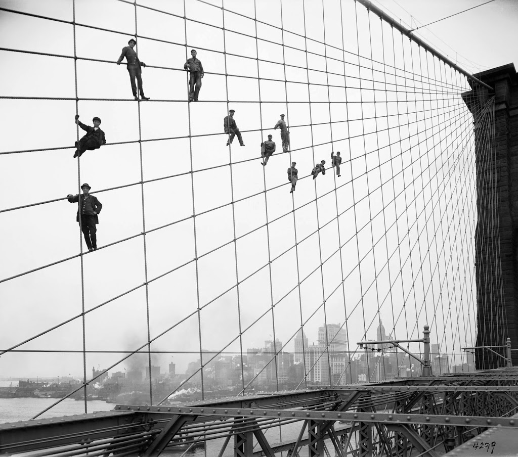 Brooklyn bridge archives the bowery boys new york city history the story of painters on the brooklyn bridge a classic photograph taken 100 years ago this month malvernweather Gallery