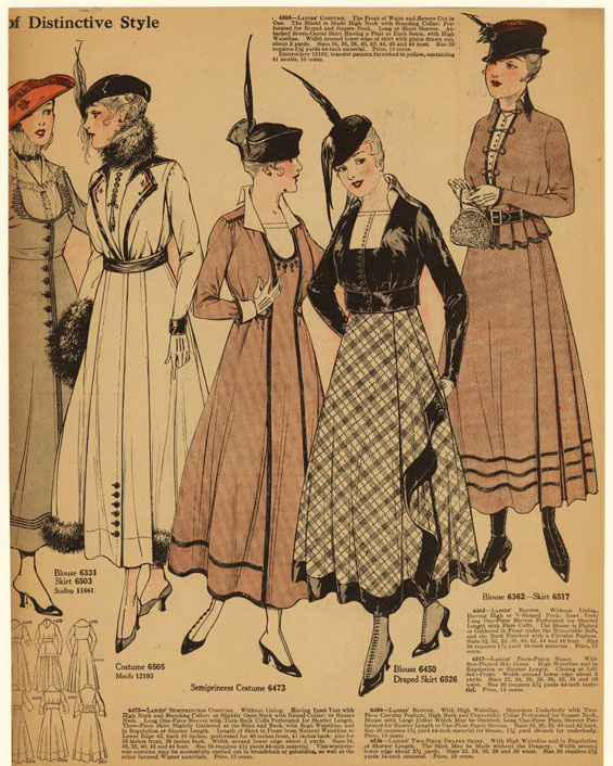 Ladies' Costume (6505) ; Blouse (6362) ; Ladies' Four-Piece Skirt (6517) ; Blouse (6450) ; Ladies' Two-Piece Draped Skirt (6526) ; Ladies' Semiprincess Costume (6473) ; Motifs (12193) ; Blouse (6331) ; Skirt (6503) ; Scallop (11661). Courtesy New York Public Library