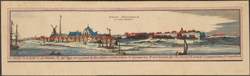 Reproduction of an earlier print of the city depicted in 1652. Courtesy Museum of the City of New York