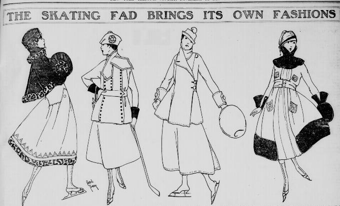 A brief skating fashion fad inspired this spread in the New York Tribune, November 14 1915