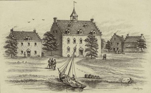 New Amsterdam 1642. The boat depicted would have been much like the vessel used to ferry passengers. Courtesy New York Public Library