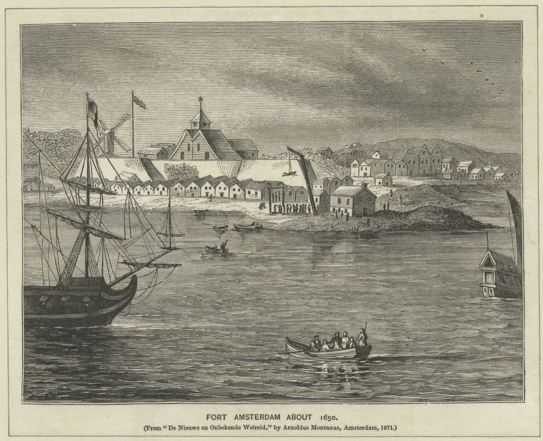 Even in 1650, small skiffs such as Dircksen's ferry would have had to dodge large vessels inhabiting the waters. (Courtesy New York Public Library)