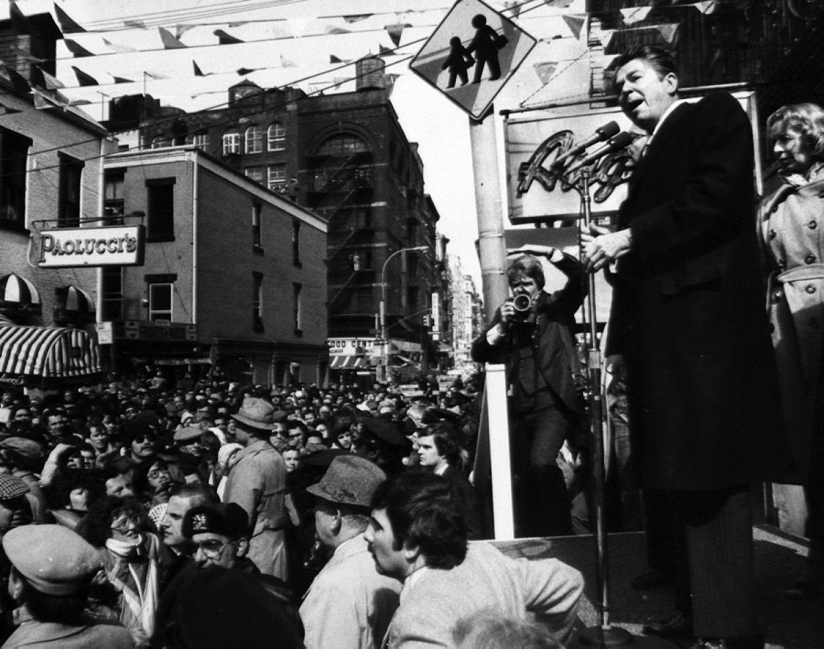 Oddly enough, presidential candidate Ronald Reagan appeared at the San Gennaro Festival in 1980. (New York Daily News)
