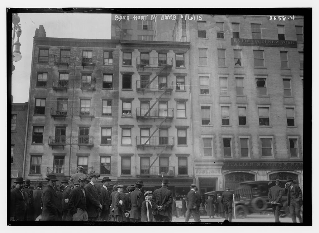 Another view of the damaged bank (Courtesy Library of Congress)