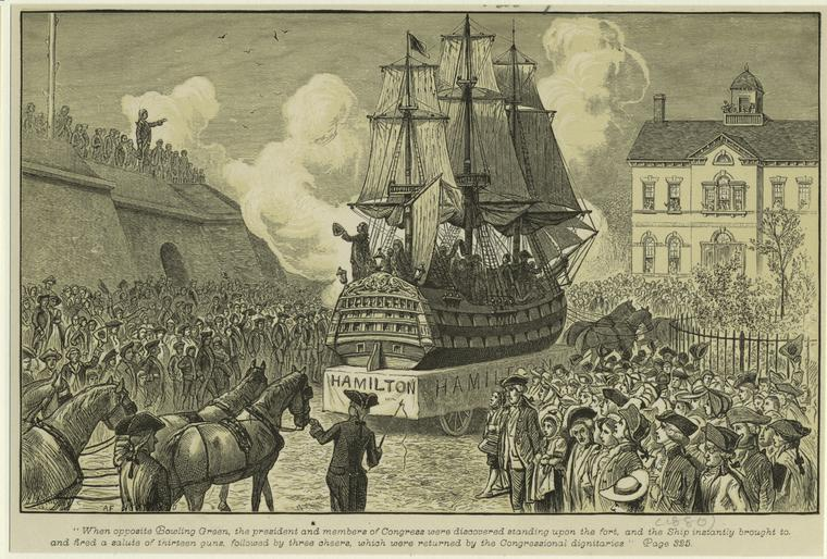 Ship On A Parade Float Drawn By Horses Past Bowling Green, New York, 18th Century. (Courtesy New York Public Library)