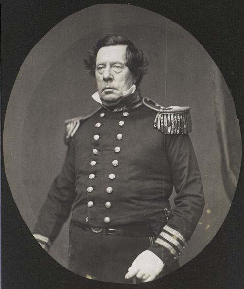 This photo of Commodore Matthew C. Perry was taken by Matthew Brady and displayed at the Crystal Palace, one of the first photographs many people may have seen!