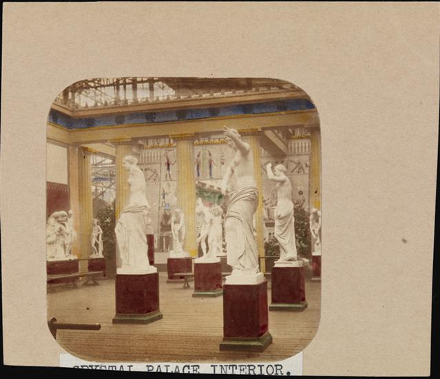 A hand-colored stereoscope of a selection of Crystal Palace statuary. There seems to be some kind of Egyptian thing going on in the background! Courtesy Museum of City of New York