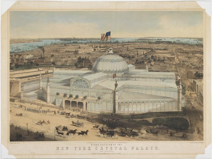 Birds Eye View of the New York Crystal Palace and Environs by John Bachmann. Courtesy the Museum of the City of New York