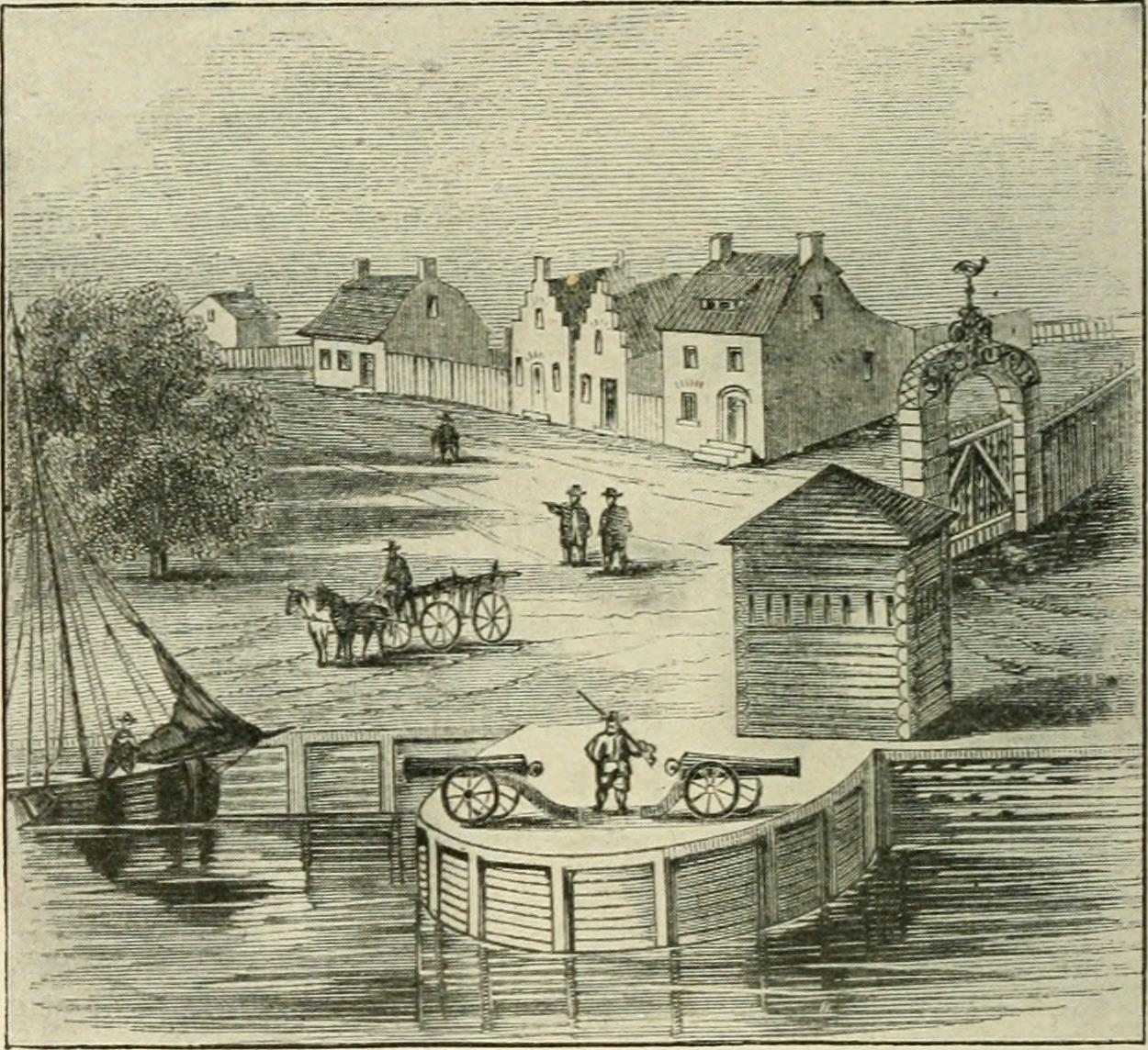 """The Plaine"" -- where the trees are to the left -- is where Bowling Green would eventually be constructed. This depicts the early Dutch years. (Courtesy the Internet Book Archive)"