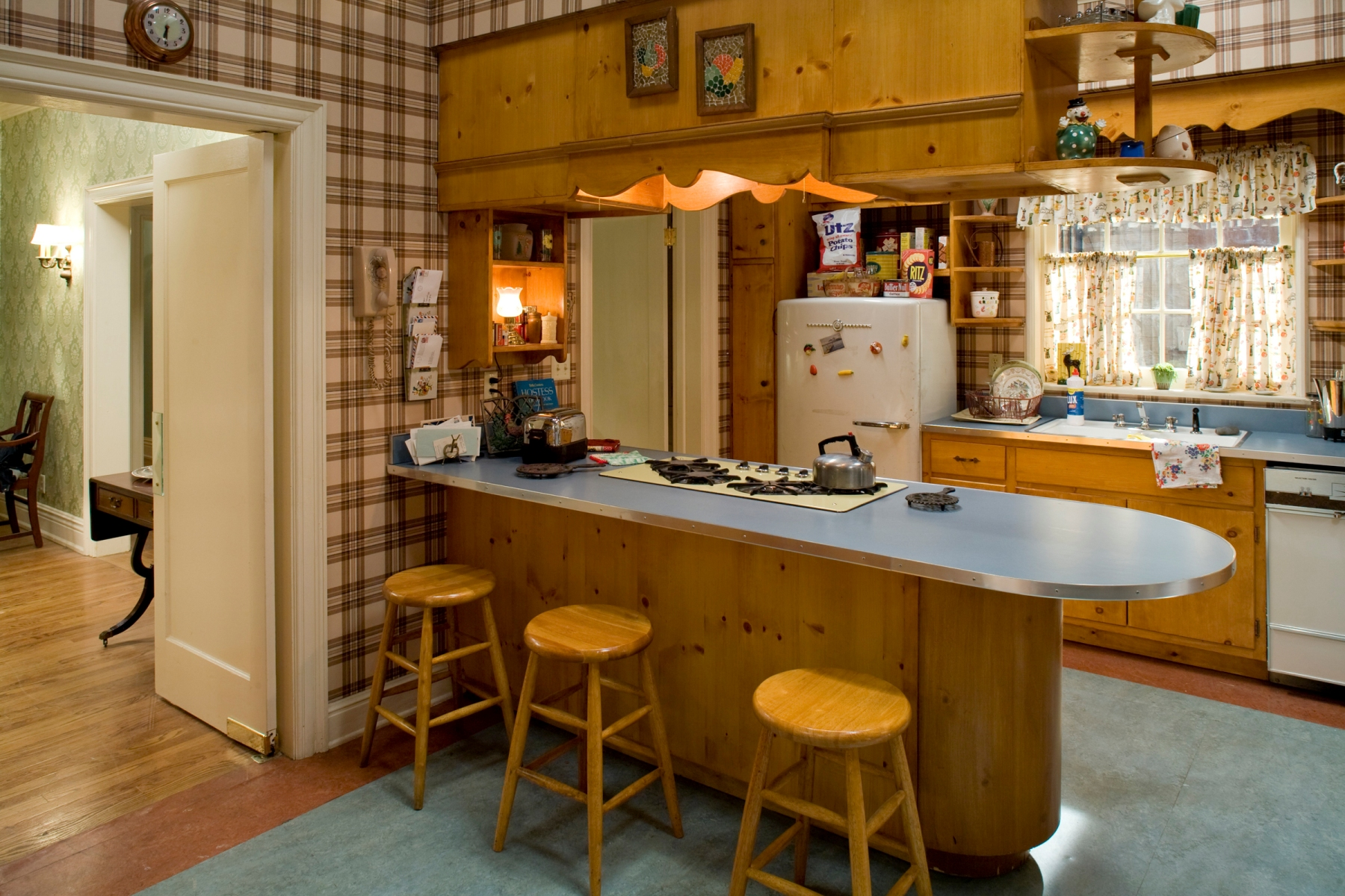 The Draper kitchen, one of the rooms carefully recreated in the museum's exhibition. Credit: Carin Baer/AMC