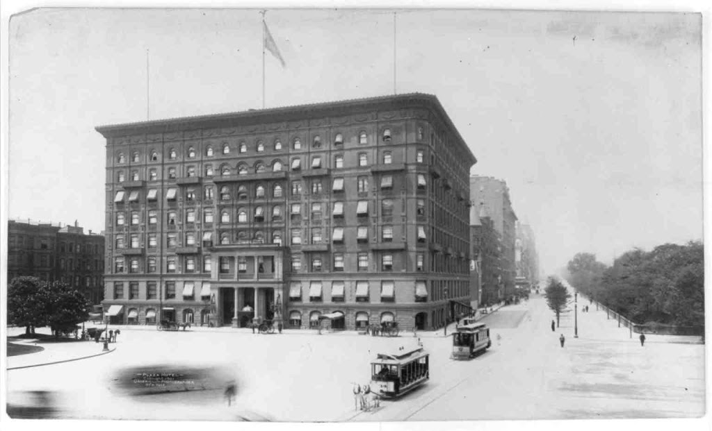 The first Plaza Hotel was deemed out of fashion and indeed looks quite plain in comparison to the building which would replace it.