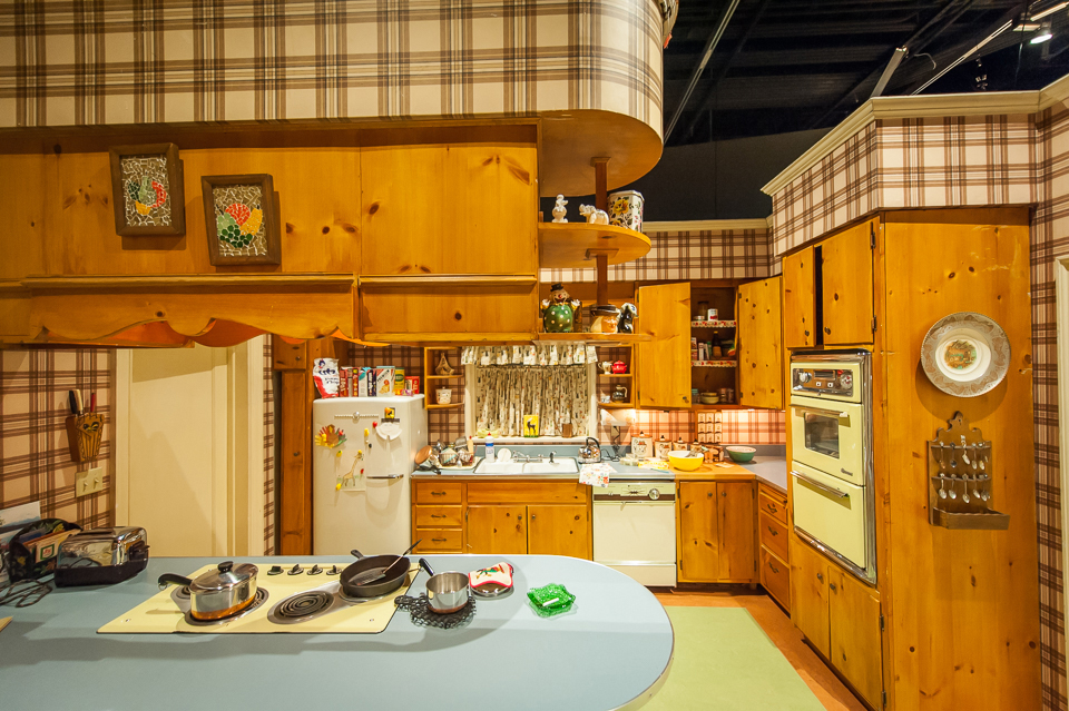 The Draper kitchen (theoriginal) and the Draper kitchen (the recreation at the Museum). Credit: Carin Baer/AMC (1) and Thanassi Karageorgiou/Museum of the Moving Image  (2)