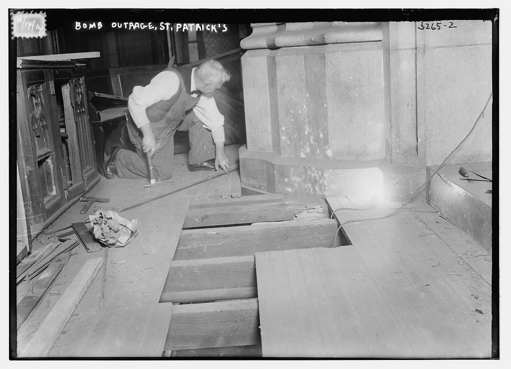 Photograph shows damage after an anarchist bomb explosion at St. Patrick's Cathedral, New York City. (Source: Flickr Commons project, 2011 and Washington Herald, Oct. 15, 1914) Forms part of: George Grantham Bain Collection (Library of Congress).