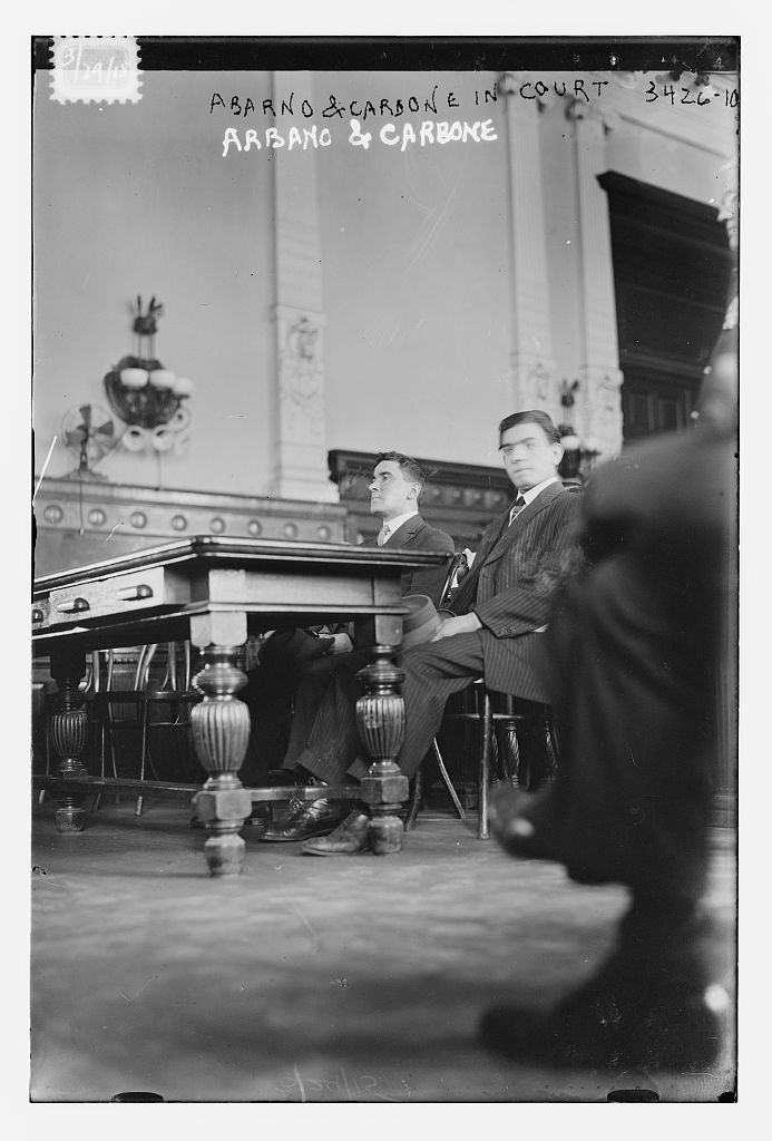 Photograph shows Frank Abarno and Carmine Carbone, who were accused and convicted of an anarchist plot to blow up St. Patrick's Cathedral in March 1915. (Source: Flickr Commons project, 2012) Forms part of: George Grantham Bain Collection (Library of Congress).
