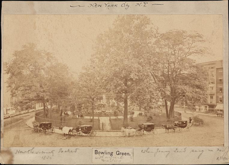Bowling Green, how the vacinity looked in 1850 whnen Jenny Lind sang in New York.  (Courtesy Museum of the City of New  York)