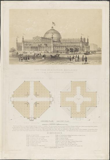 A very church-like plan of the Crystal Palace building by Petermann and Guildemeister. Courtesy Museum of the City of New York