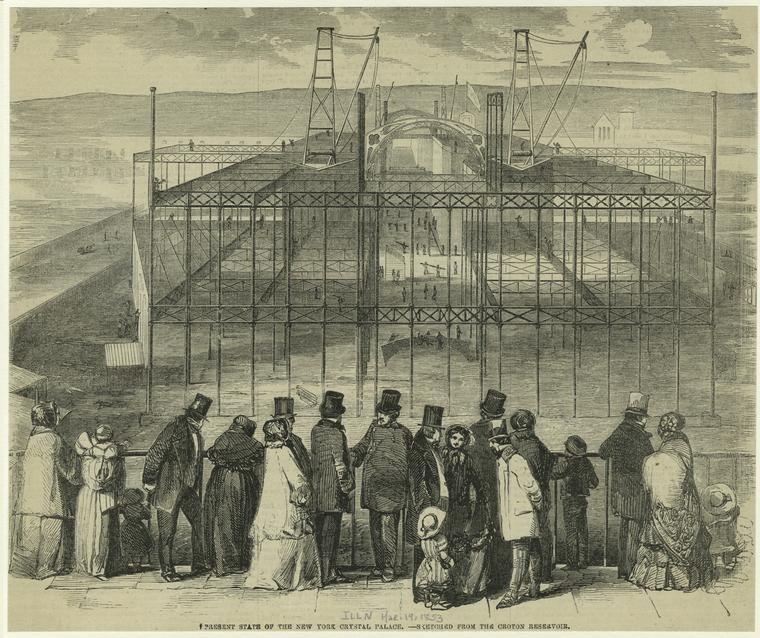 A look into the pit surrounding the Crystal Palace during construction. There were many delays, somewhat sullying the lofty ambitions of the project at the very start. Courtesy New York Public Library