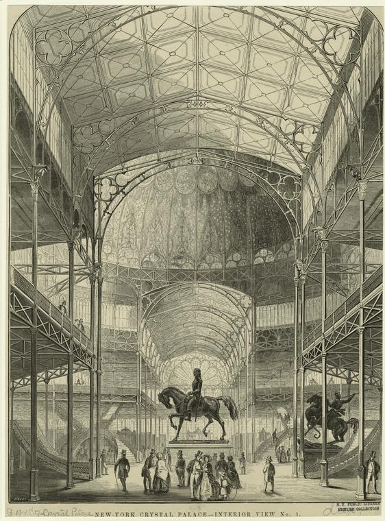 Illustration of the center of the Crystal Palace by J Wells. Courtesy New York Public Library