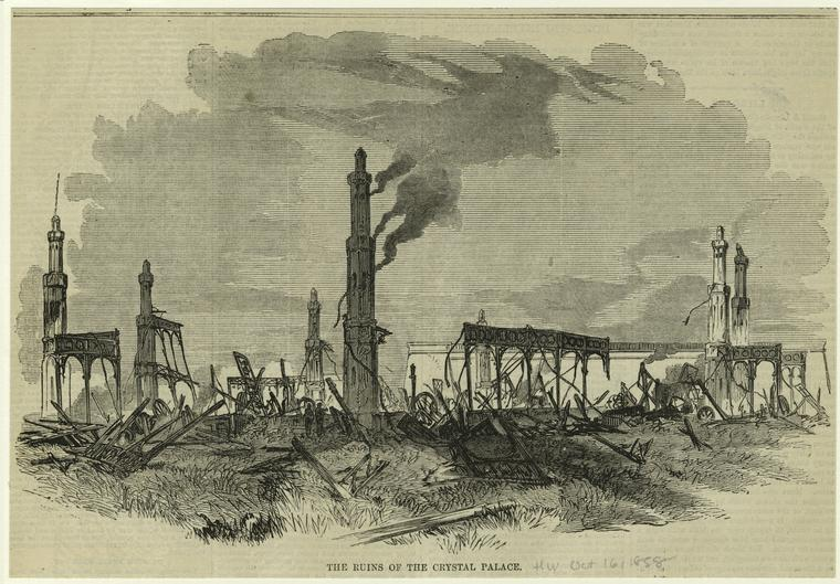 An illustration made in 1858, depicting the aftermath of the horrible fire that destroyed the Crystal Palace. NYPL