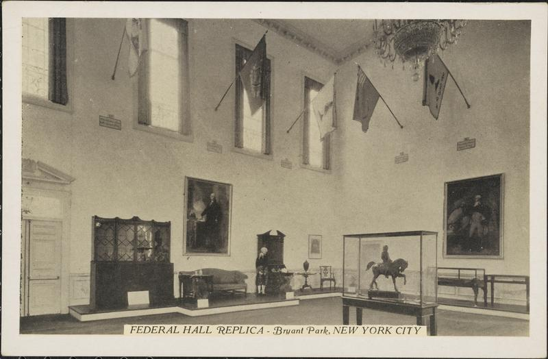The interior of Bryant Park's Federal Hall. (Museum of the City of New York)