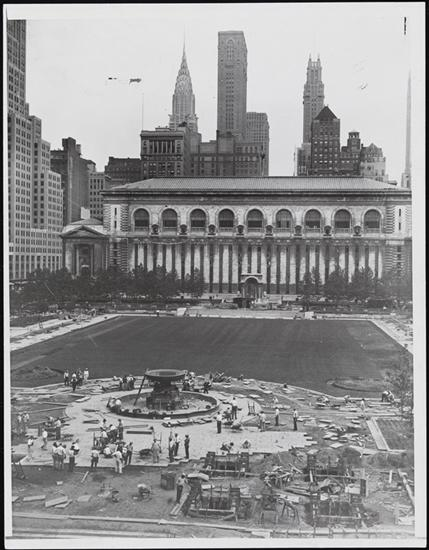 The reconstruction of Bryant Park in 1934, overseen by new Parks Commissioner Robert Moses