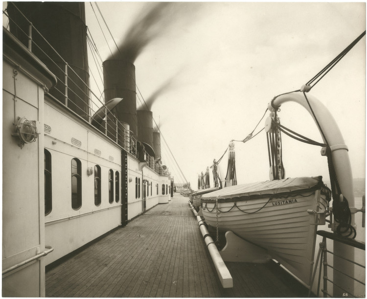 The deck of the Lusitania, 1905-07, courtesy SMU Central University