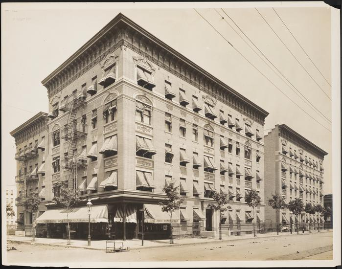 An apartment building along the Grand Concourse, taken between 1900-1925,  photo by the Wurts Brothers (Courtesy the Museum of the City of New York)