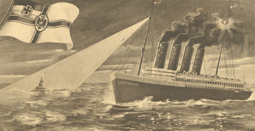 Sinking of the Lusitania, European postcard