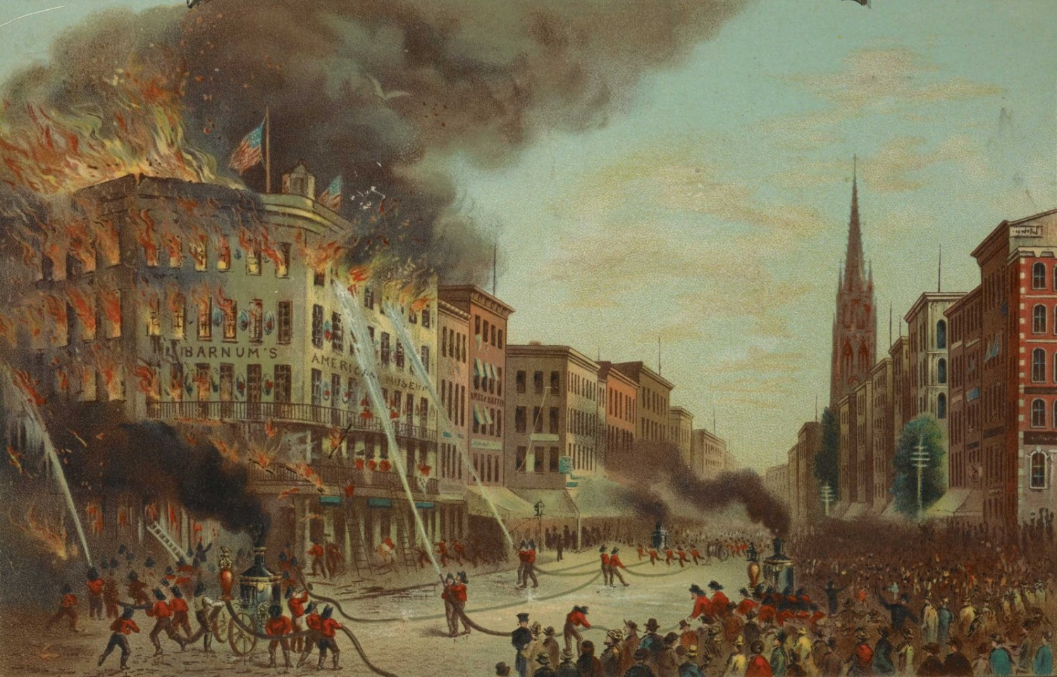 Christopher Pearse Cranch. Burning of Barnum's Museum, July 13th, 1865, 1865. Chromolithograph. Eno Collection Miriam and Ira D. Wallach Division of Art, Prints and Photographs, The New York Public Library