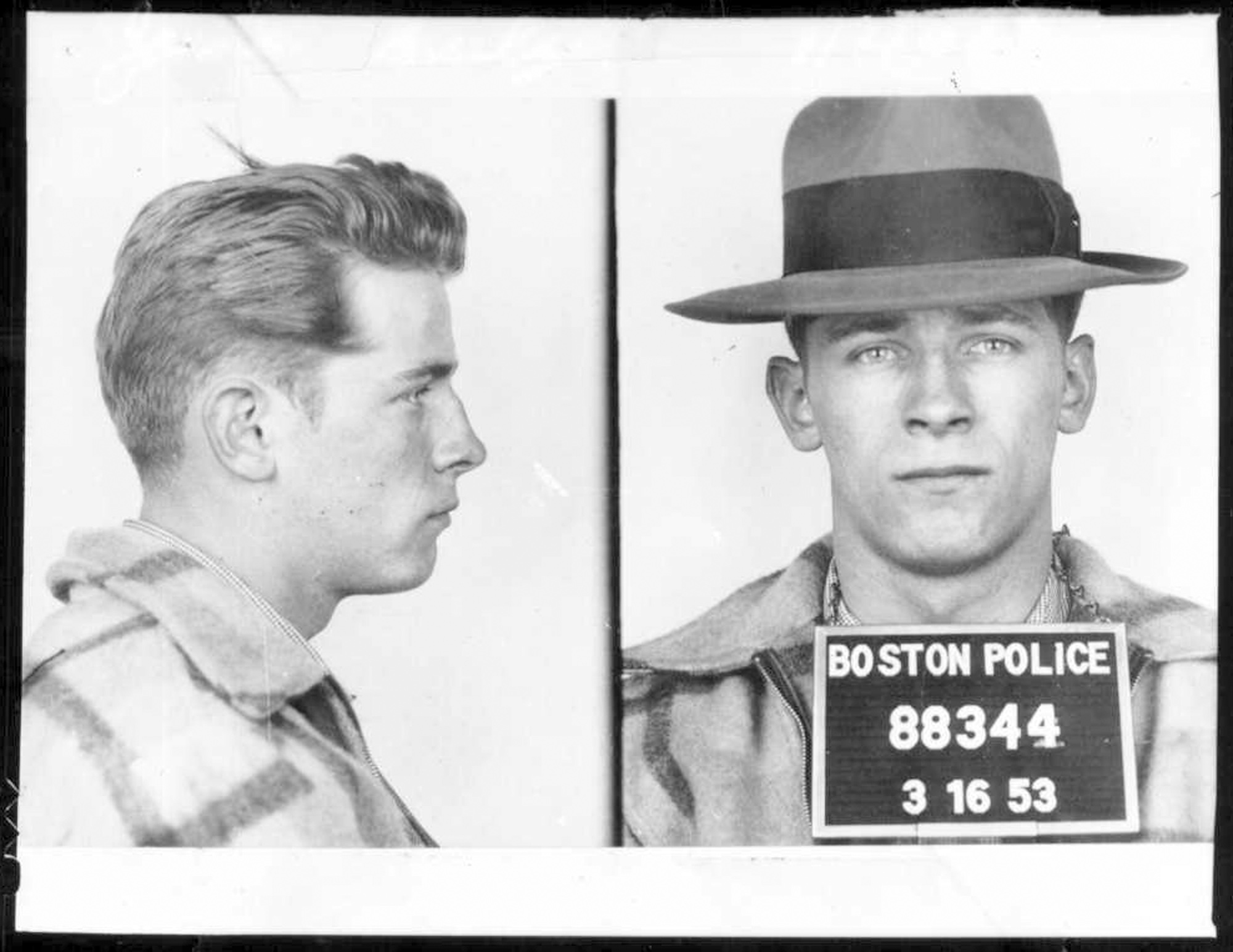 "This 1953 Boston police booking photo shows James ""Whitey"" Bulger after an arrest.. (AP Photo/Boston Police)"