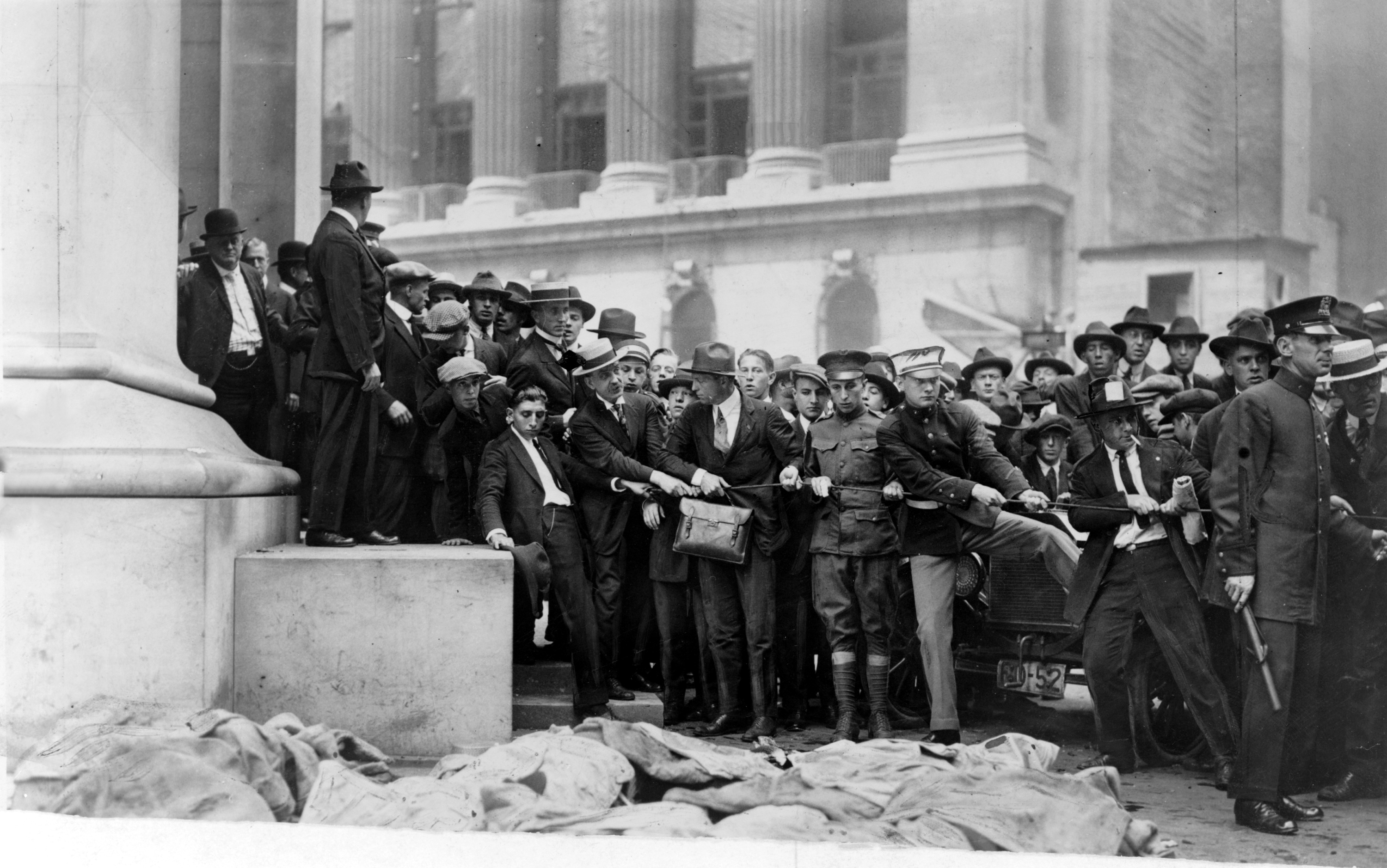 "three reports on the explosion of wall street in 1920 On september 17, 1920, the times reported that ""both the police and the  by 3: 30 pm, the board of governors of the new york stock exchange had  they  observed that the wall street bomb was packed with heavy sash."