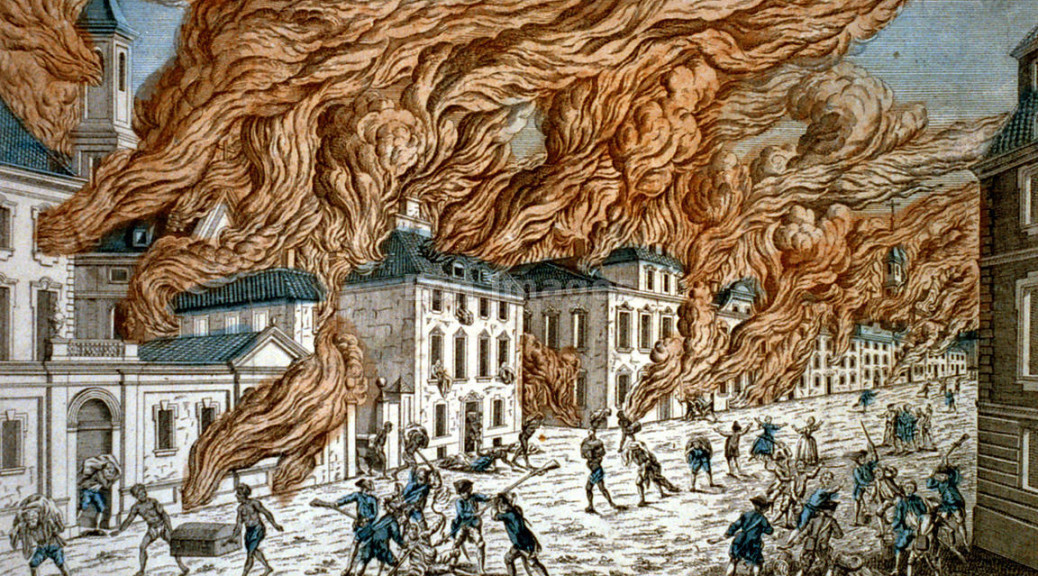 French print showing buildings in New York City engulfed in flames during a fire  (Note: print has 9/19/1776 as date of Great Fire, while other sources reference 9/21/1776). Also shown are citizens being beaten by Redcoats, (British soldiers) and looting by African slaves. Note: scenes depict chaos in New York City following the British occupation and evacuation of U.S. troops during the Revolutionary War. Image published: ca. 1778.