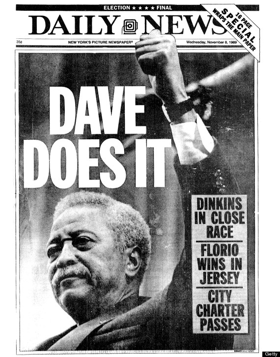 UNITED STATES - NOVEMBER 08: Daily News front page dated Nov. 8, 1989, Headlines: DAVE DOES IT, Dinkins in close race, Florio wins in jersey, City Charter passes, David Dinkins elected Mayor of New York City (Photo by NY Daily News Archive via Getty Images)