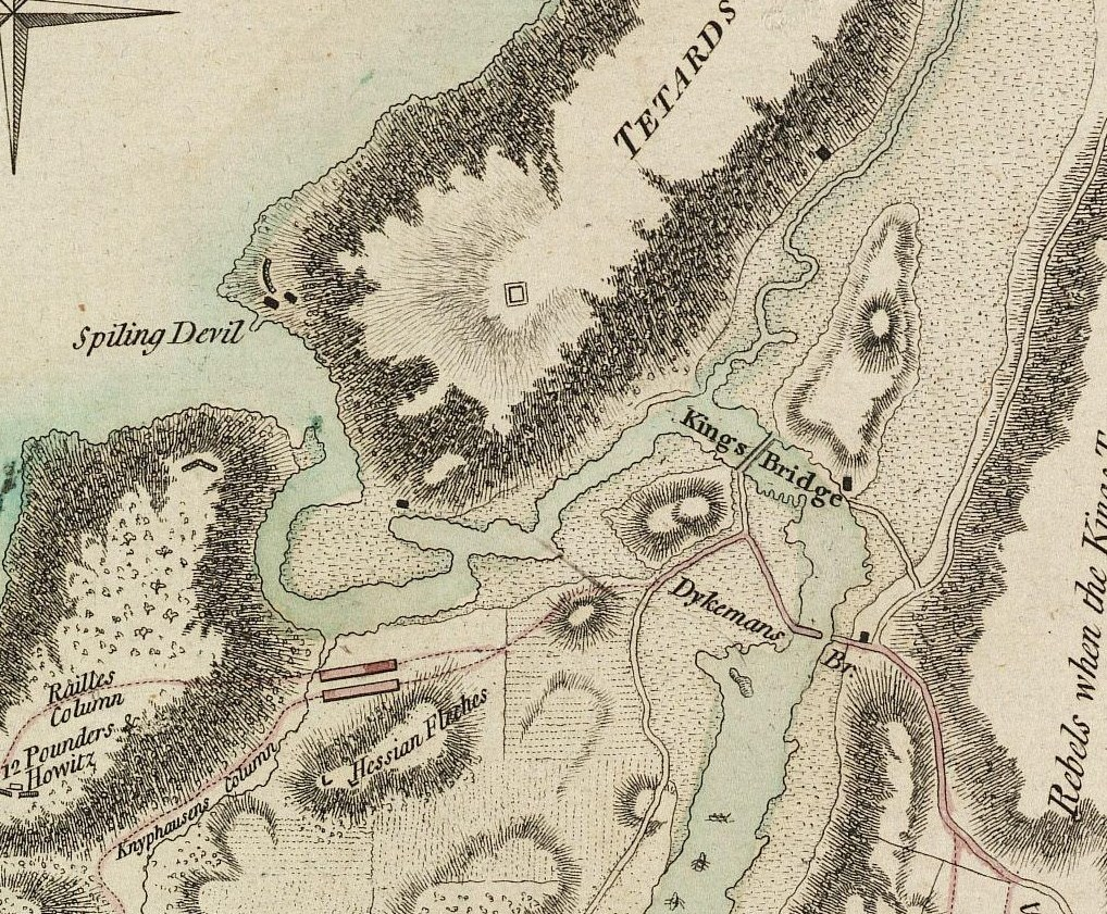 Excerpt from the Battle Of Fort Washington Map By Sauthier showing original course of Spuyten Duyvil Creek, and locations of King's Bridge, Dyckman's Bridge, and Marble Hill area then part of Manhattan