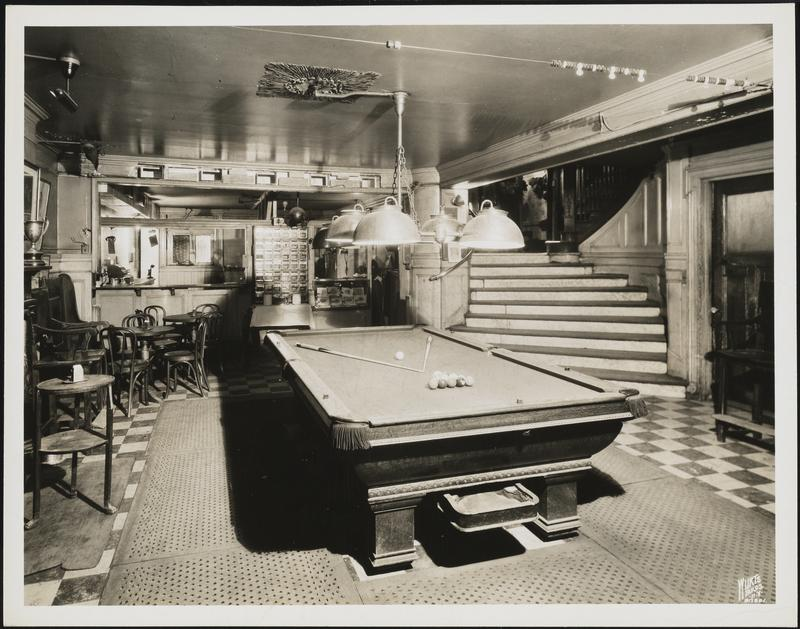 16 Gramercy Park South. The Players Club. Interior, view of playroom and bar, before alterations