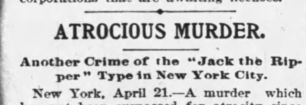 the alleged new york murders of jack the ripper the bowery boys