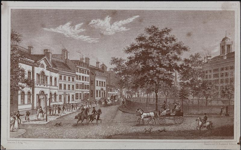 "Street Scenes, Broadway, Bowling Green, Trinity Church, 1830. -- An engraving by ""Barnard & Dick"" made in 1910. Courtesy the Museum of the City of New York"