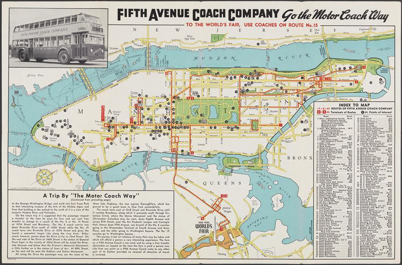 Fifth Avenue Coach Company promotional flyer for the 1939 World's Fair]