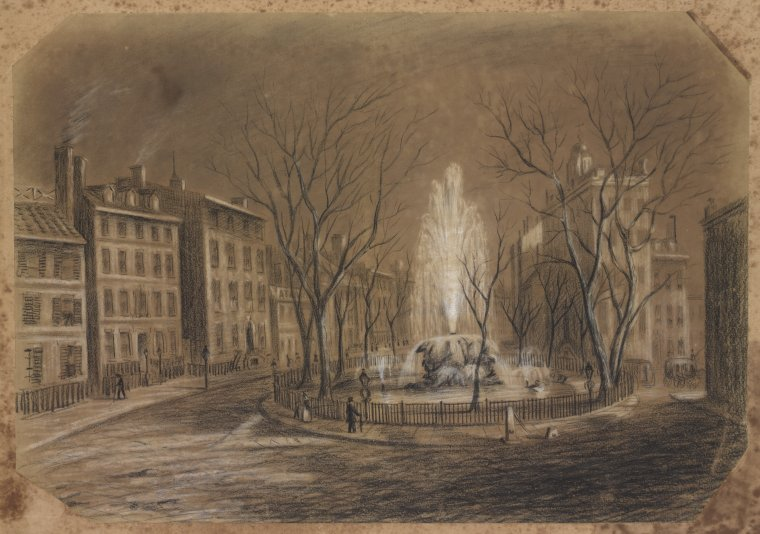 Charcoal drawing of Bowling Green, New York, 1845. (New York Public Library)