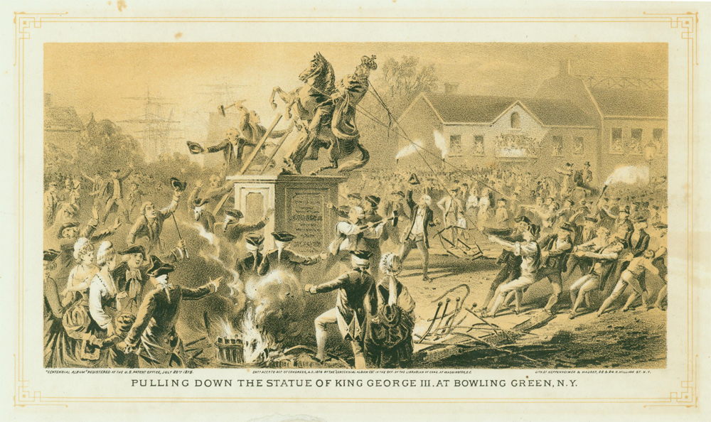 Pulling down the King George statue 1776