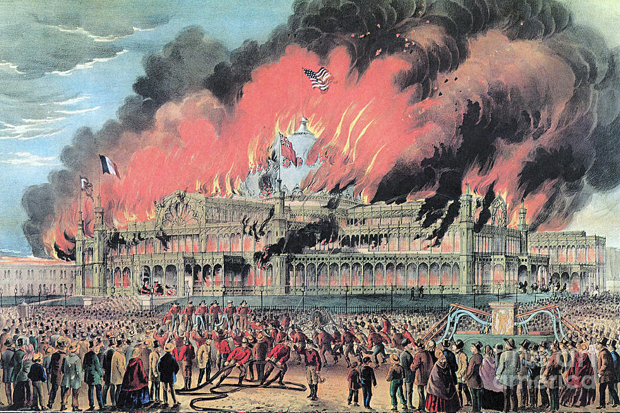 One of several illustrations of the Crystal Palace fire, a dramatic blaze that destroyed the building in under an hour.