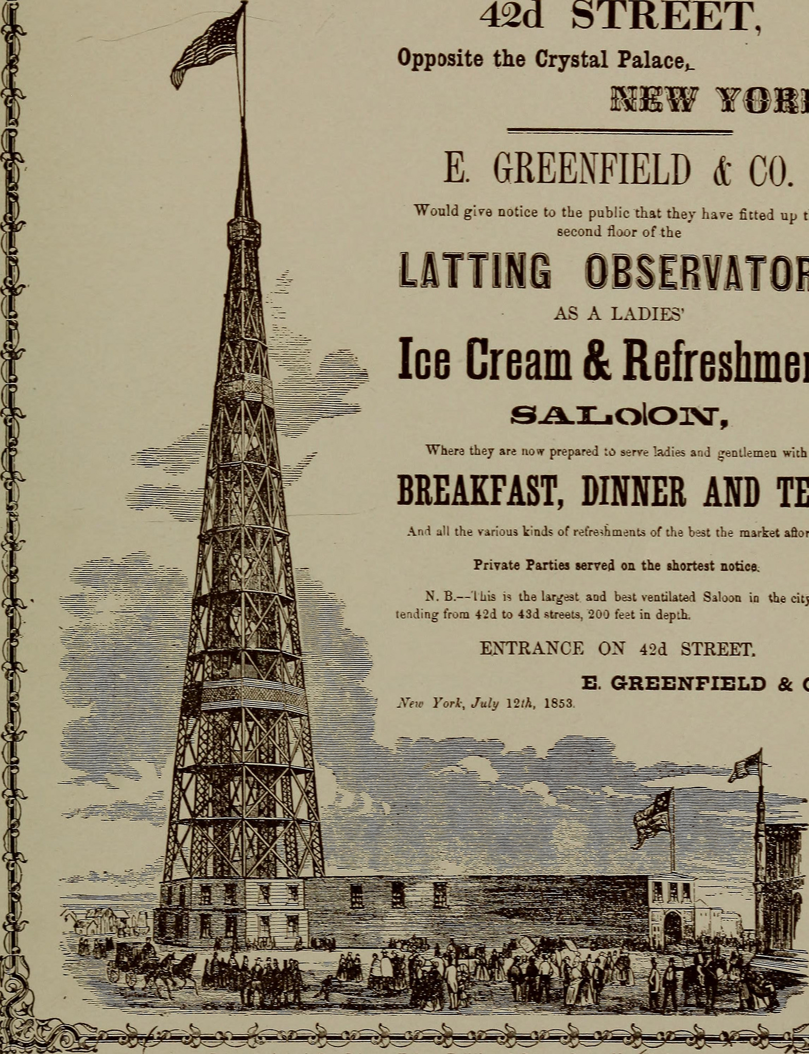 A reprinted advertisement from Valentine's Manual of old New York, outlining some of the charms of Latting Observatory