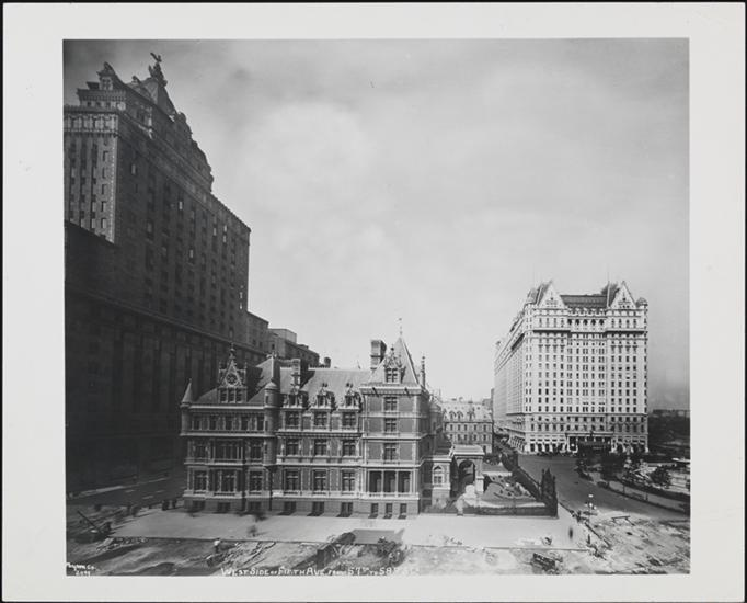 We're so used to the Plaza being surrounded by department stores and office buildings. But in fact its first neighbors were mansions as illustrated in this photograph from 1923 (Courtesy the Museum of the City of New  York)