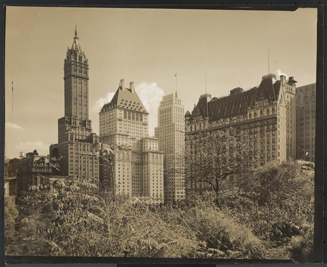 By the 1930s, the Fifth Avenue mansions below 59th Street were gone, and the Plaza was joined by other luxury hotels. (Picture courtesy Museum of the City of New York)